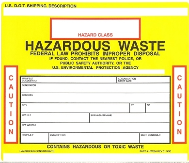 Harzardous Waste Label